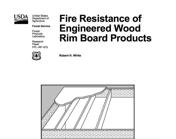 Calculated Fire Resistance of Wood Report FPL-RP-610 from