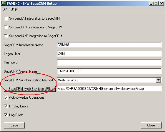3. In the SageCRM Synchronization Method field, select Web Services.