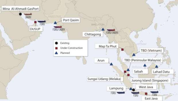 Overcome the challenges via the right marketing strategy Regasification terminals in Asian niche markets Source: Poten & Partners Volume from small-scale LNG projects may be attractive for the new