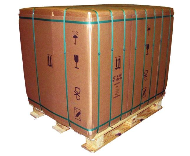 Reusable Packaging: bales are wrapped in plastic fabrics fastened with hook and loop material.
