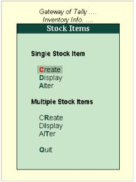 Creation of Stock Item Gateway of