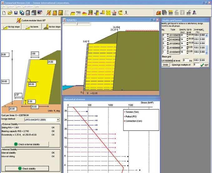 Fully interactive, it allows you to input and easily alter wall geometry, geogrid grade or layout, surcharge load and/or soil characteristics all on a single screen image to determine stability data