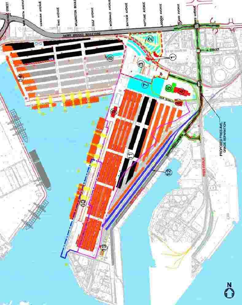 POLA TraPac Terminal Community Buffer Area Project Elements Bldgs-New Admin, M&R (11 Bldgs) Backlands 176 ac existing; 70 new ac ICTF-6 loading