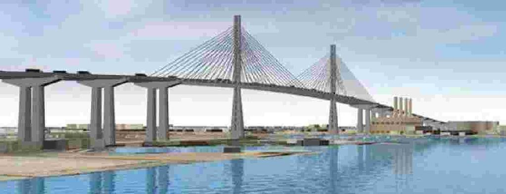cable-stayed design and 200 feet of clearance over