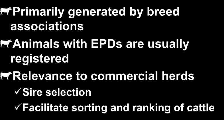 Expected Progeny Differences Primarily generated by breed associations Animals with EPDs are