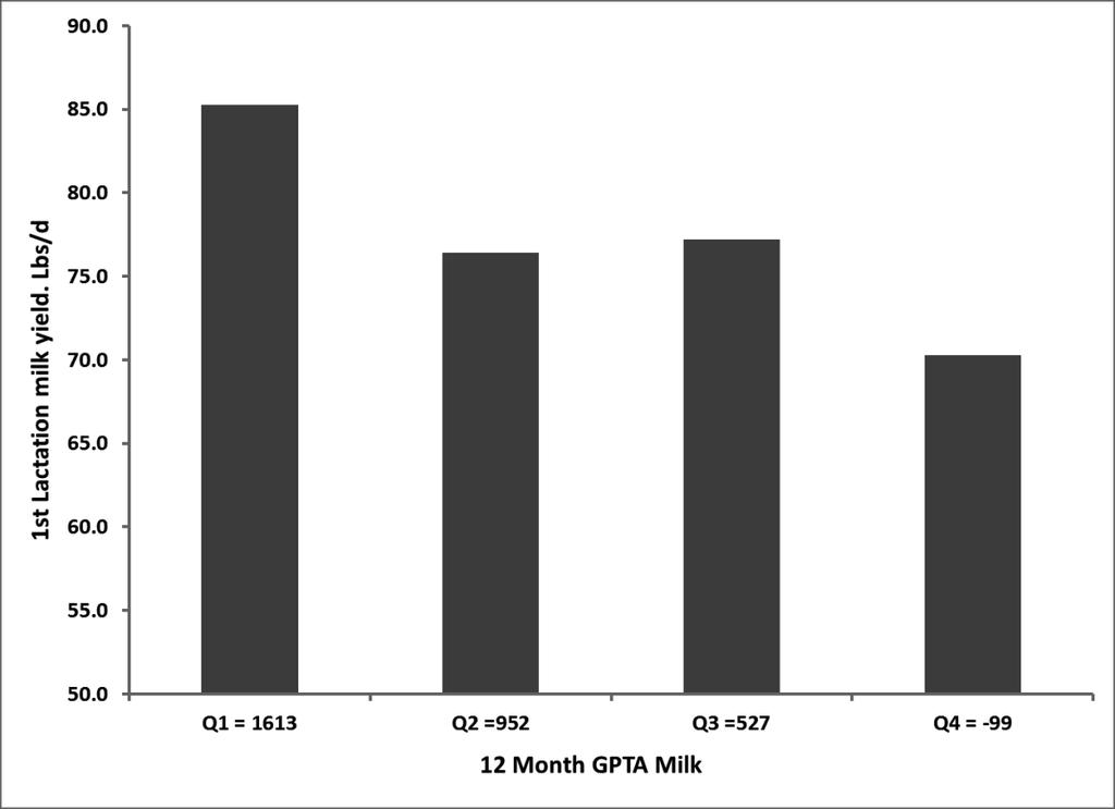 Figure 3. Comparison of GPTA for milk yield of 12-month old Holstein heifers in the UW- Madison herd with actual daily milk yield of the same animals during first lactation.