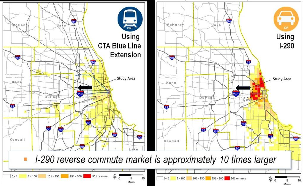 broader, due to the extensive existing CTA network in the city of Chicago.