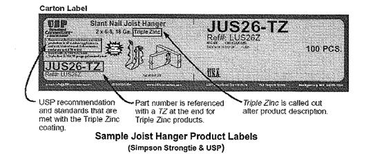 Simpson designates their hangers for use with ACQ with the Z-max trade name, USP (United Steel Products) uses the