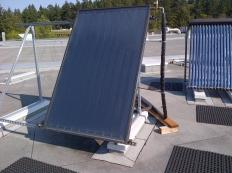 The two most common types of solar collectors used in solar water heaters are glazed flat plate and evacuated tube collectors.