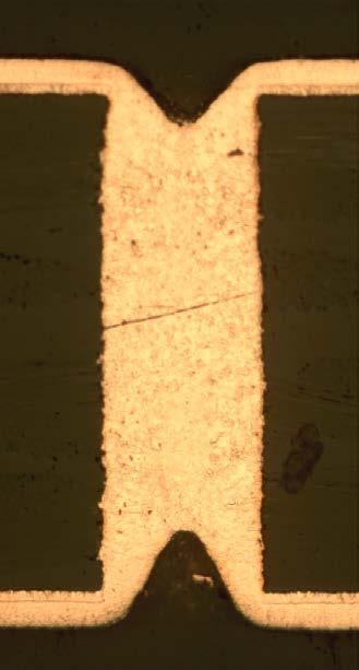 It becomes challenging to bridge the panels with core thickness of 800 µm. In holes with diameters below 250 µm, cavities were observed. FIGURE 8.