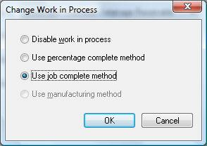 Printed Documentation Click OK to change the default Work in Process setting for new jobs. Note that this process will not change existing jobs.