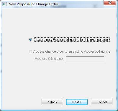 Progress Billings 3. Select Yes to apply the change order costs to the progress-billing's scheduled value.