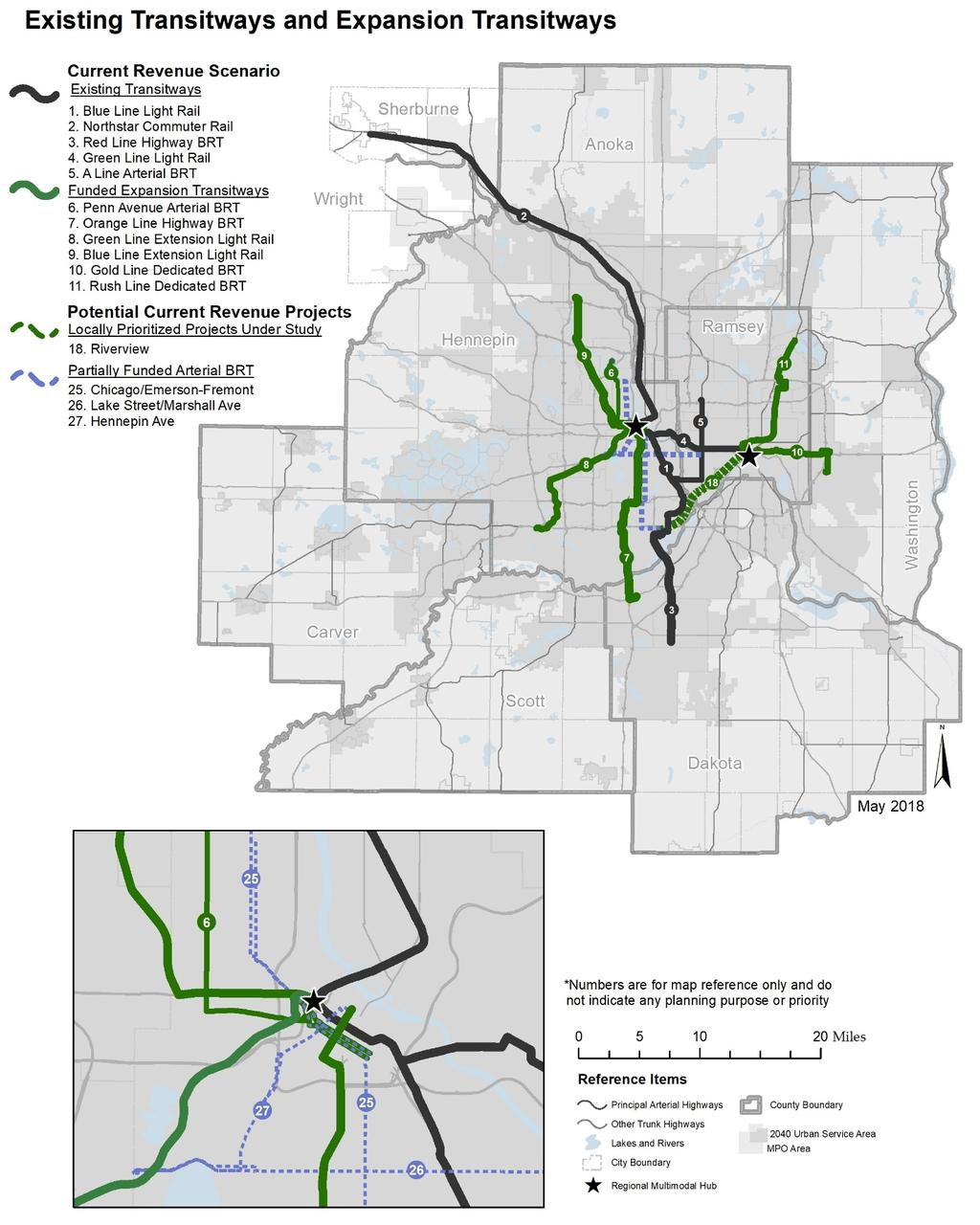 Figure 6-8: Map of Existing Transitways and Current Revenue Scenario Expansion Transitways 2040