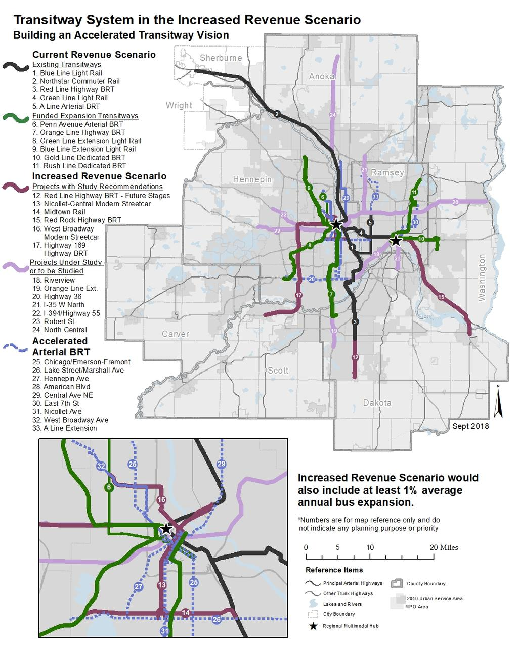 Figure 6-9: Map of Transitway System in an Increased Revenue Scenario Building an Accelerated Transitway Vision