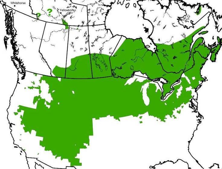 74 Figure 19. Geographic distribution of northern leopard frogs.
