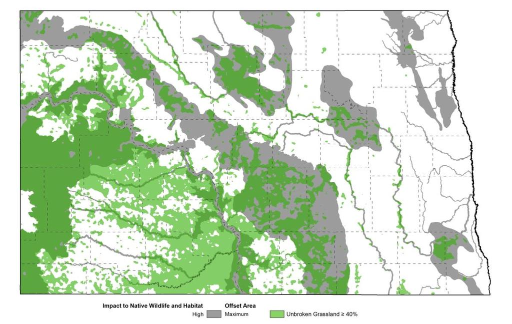 More than half of the core unbroken grassland occurs within Focus