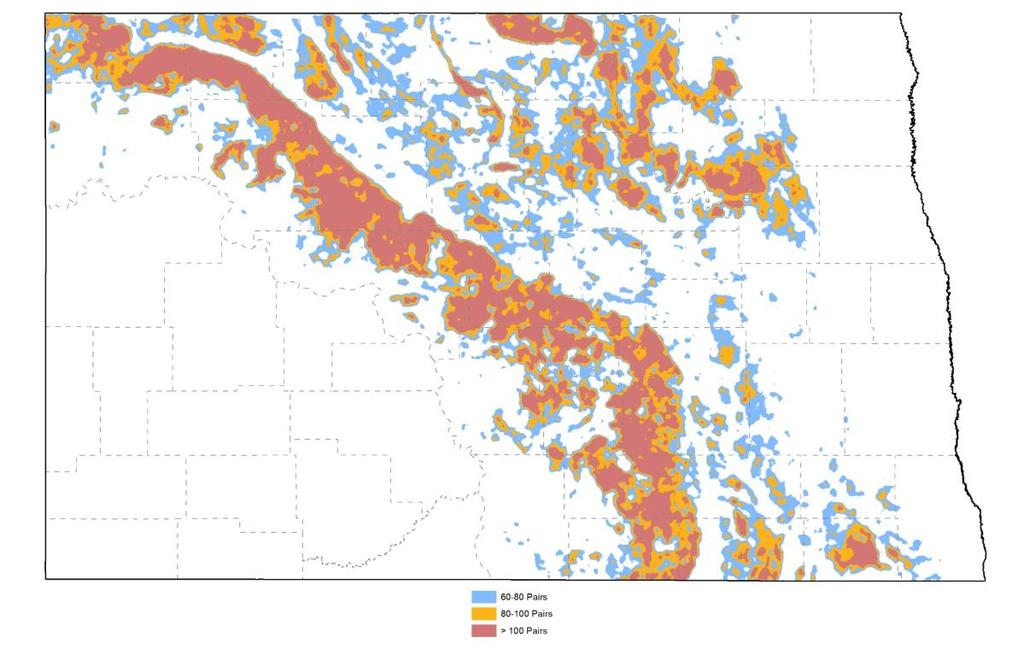 WETLANDS The USFWS developed spatially explicit models targeting waterfowl populations that prioritize habitats (e.g. wetland complexes) to benefit upland nesting waterfowl (Reynolds et al. 2006).