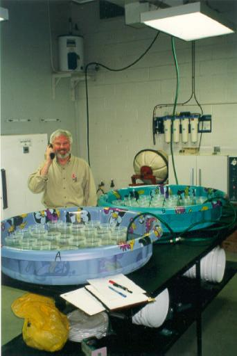 Scientific Advisor, Gordon Craig, adjacent to water baths and test chambers