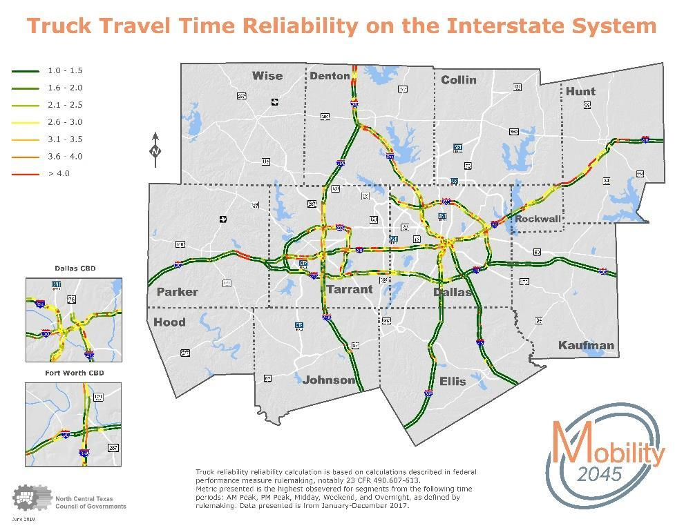 Exhibit 8-9: Truck Travel Time Reliability on the Interstate System This data source is available back to 2012 in a consistent format, so a limited trend analysis is possible despite the limitations