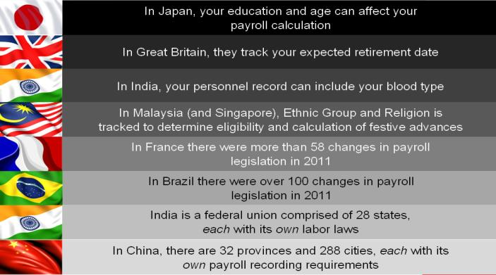Compliance In Japan, your education and age can affect your payroll calculation. In Great Britain, they track your expected retirement date.