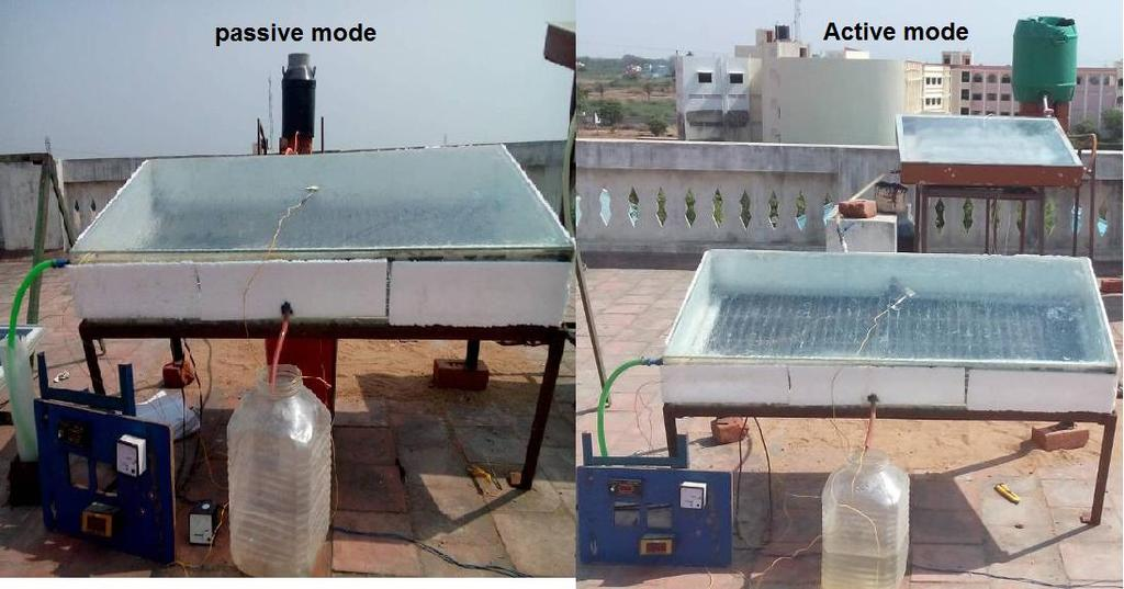 Experiments were carried out by two different conditions i) inclined solar panel basin still in passive mode ii) inclined solar panel basin still in active mode. Fig.