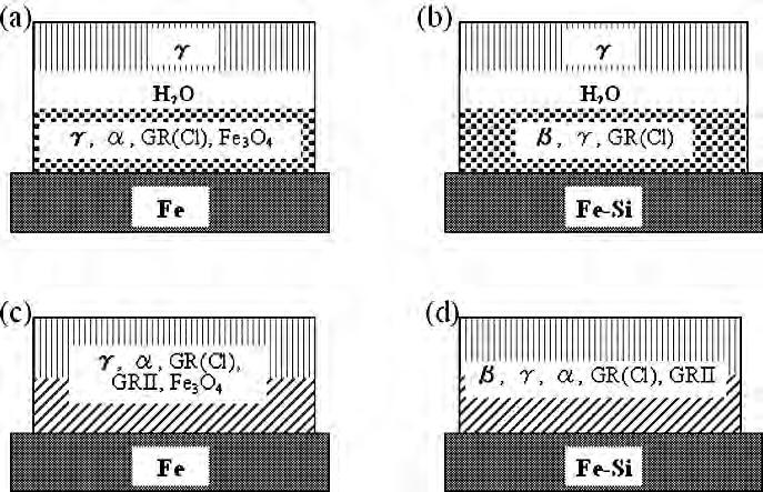 Schematics representing the cross-sections of species of corrosion products formed of the surfaces of (a) Feand(b) Fe-Si by dropping a Na 2SO 4 solution, and (c) Fe and(d) FeSi dried thereafter Na 2