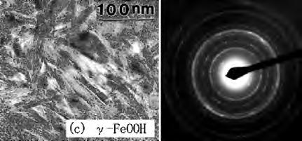 Transmission electron microscopic images of (a) α-feooh, (b)