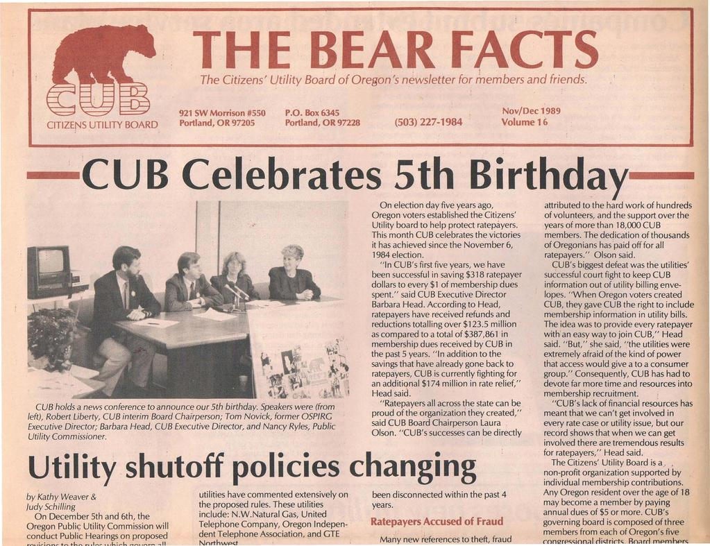 THE BEAR FACTS The Citizens' Utility Baard'afOr