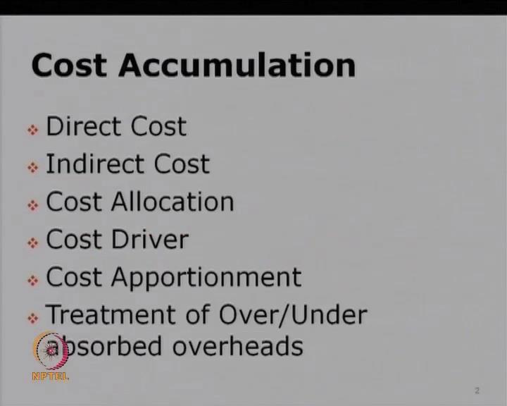 (Refer Slide Time: 16:41) So, let us see our module 9 which is basically devoted on cost accumulation.