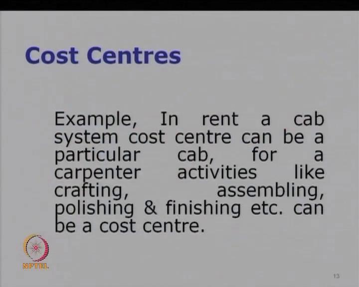 (Refer Slide Time: 32:10) Let us also take an example of a say, car or a taxi, now what happens is suppose you are operating a rent a cab system, now what will be your cost center?