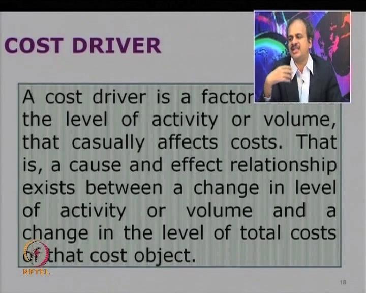 (Refer Slide Time: 39:13) Let us look at, what is the cost driver? So, it is a factor, like say, level of activity or volume that affects the cost.
