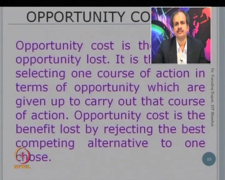 (Refer Slide Time: 06:40) Let us go to one more that is known as opportunity cost.