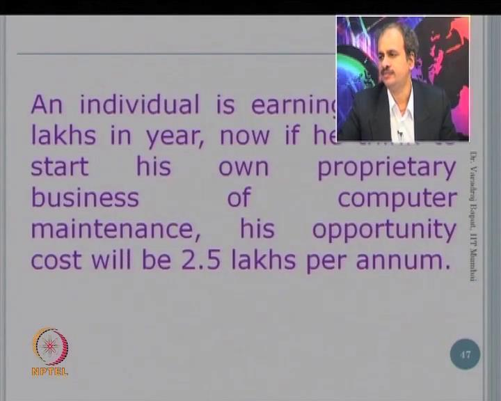 (Refer Slide Time: 10:50) This is a example where an individual is earning some money say, 2.5 lakhs, and he decides to do his own business.
