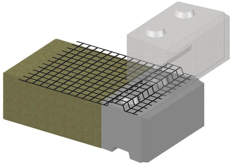 INSTALLATION AND ENGINEERING MANUAL GRID REINFORCEMENT FRICTION-FIT CONNECTION INSTALLATION* Using no adhesives, grid reinforcement is held in place solely by the weight of the block above it.