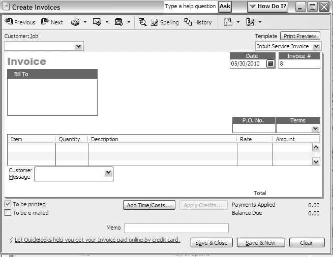 Instructions for Creating Invoices or Sales Receipts To do this task 1. Go to the Customer center and click Invoices (or Sales Receipts) icon. 2.