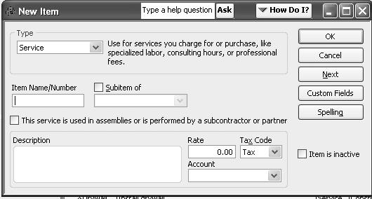 If this item is a subitem of an existing service item, select the Subitem of checkbox and specify the parent item's name. 5.