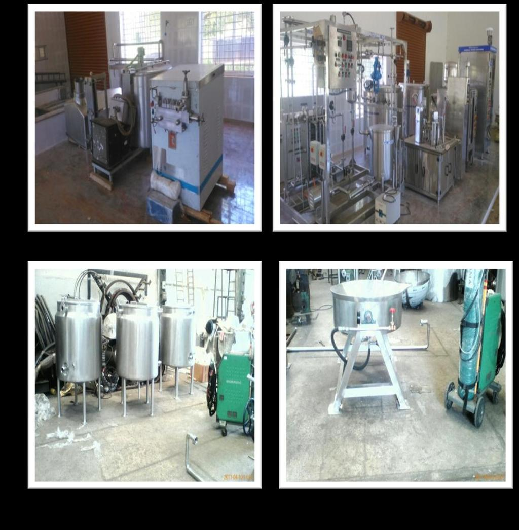 Dairy Plant (1000 LPH) consists of Milk Processing Section (1000 LPH). Milk Pasteurizer Skid mounted. Homogenizer (1000 LPH). Cream separator (1000 LPH).
