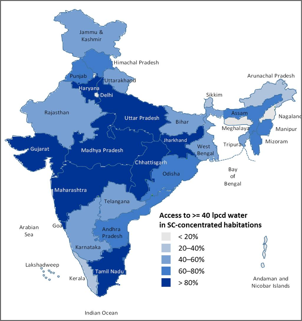 EXHIBIT 12 Maharashtra, Madhya Pradesh, Chhattisgarh, Tamil Nadu, Haryana, Jharkhand and Gujarat have been able to meet the water needs of more than 90% of their SC concentrated habitations Access to