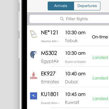 PROJECTS Tourism, Travel & Transportations Cairo Airport This application allows you to track the status of any arriving or departing flight from/to Cairo International Airport and provides lots of