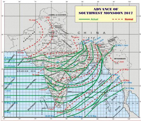 The southwest monsoon has further advanced into remaining parts of Bihar, most parts of Madhya Pradesh & Uttar Pradesh and some more parts of Rajasthan, many parts of Uttrakhand, Himachal Pradesh and