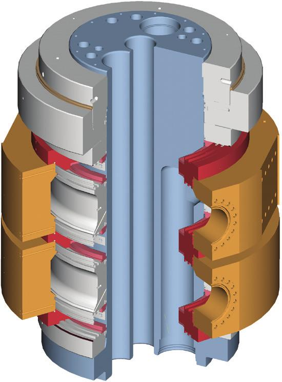 between the intermediate ring and the outlet ring The outlet rings and parts of the bearing follow the rotation of the vessel.