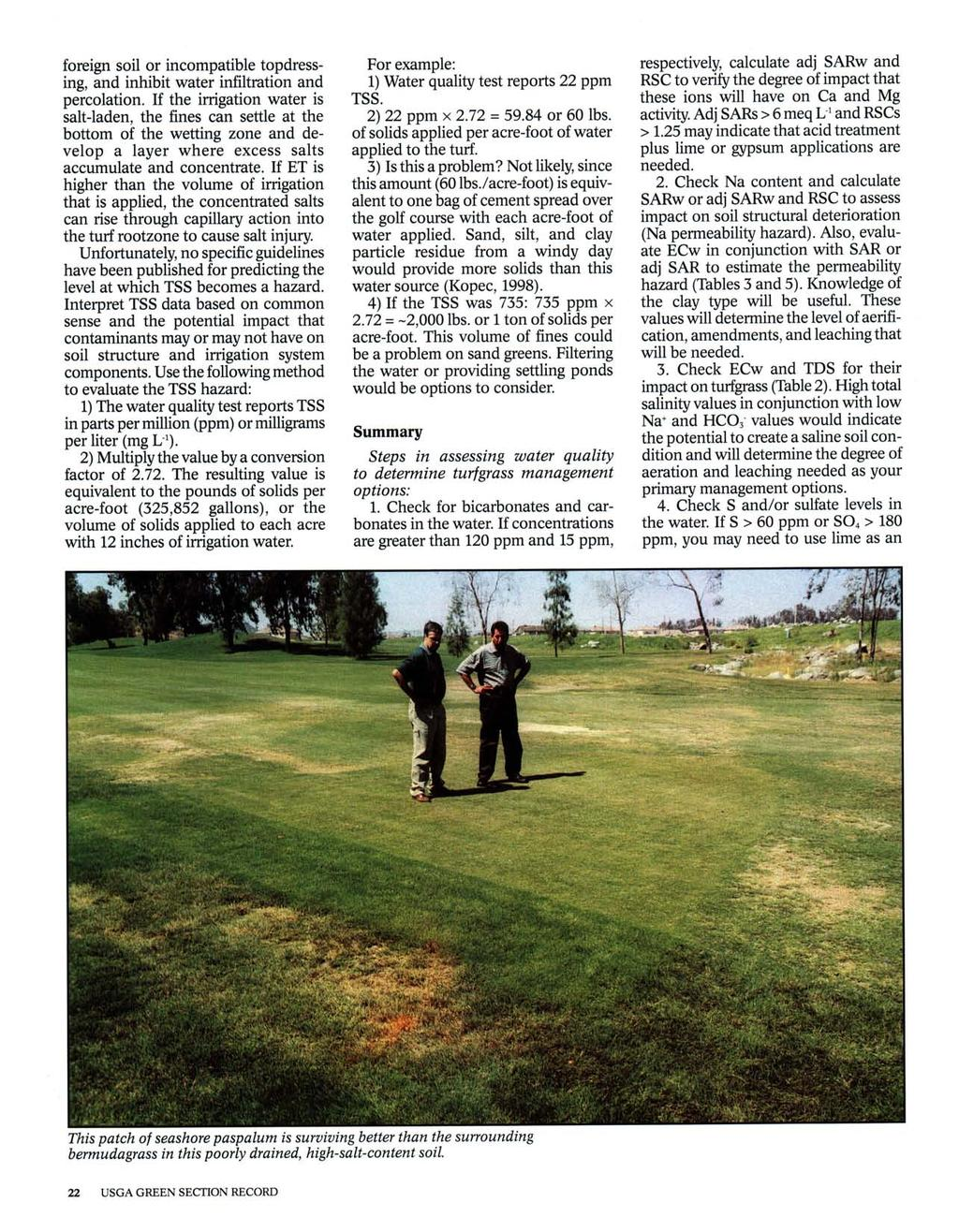 foreign soil or incompatible topdressing, and inhibit water infiltration and percolation.