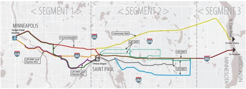 Alternatives Analysis Study 2010 to 2013 Modes Considered Commuter Rail, Light Rail, and Bus Rapid Transit Alignments