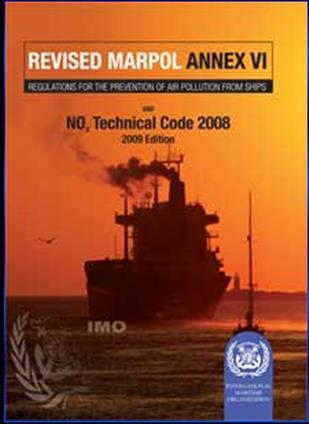 MARPOL Annex VI Adopted in 1997, entry into force in 2005 Aiming at minimizing airborne emissions from ships (SOx, NOx, ODS, VOC, CO2) Revised Annex VI in October 2008, entry into force in July 2010
