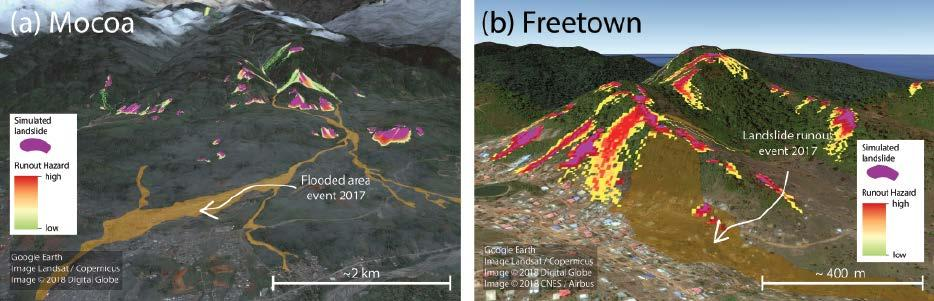 Fig. 3. STEP- TRAMM simulations of landslide soil mass releases (purple areas) and debris flow runout ( warm colors indicate different calculated probabilities of runout).