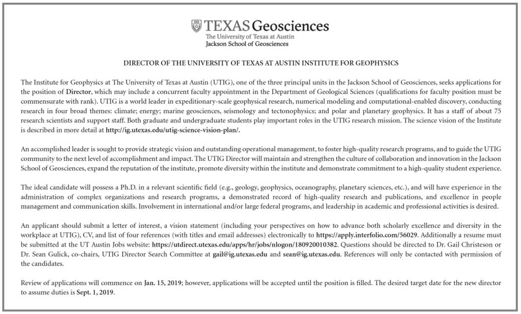 POSITIONS AVAILABLE Applicants must hold a Ph.D. in hydrogeology (or appropriate related field) at the time of appointment, and have demonstrated research experience in physical hydrogeology.