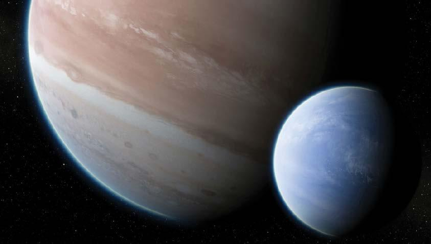 NEWS Large Exomoon Likely Orbits a Faraway World A team of astronomers has announced new evidence supporting the existence of an exomoon in orbit around a distant exoplanet.