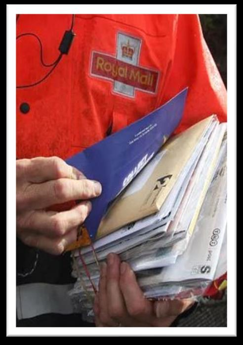 2 LEAFLET DELIVERY Despite more advertising channels than ever before and an explosion in Social Media we still have just one letterbox and all essential correspondence is sent by post.