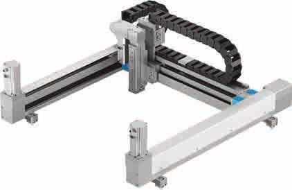 Pneumatic and electric components are freely selectable With matching Festo motor and motor controller package, and energy chain Highly dynamic three-dimensional gantry: for maximum performance With