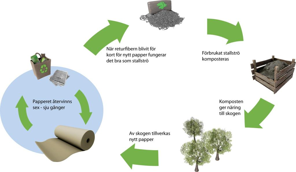Fiber sludge - Stable Litter Recycled fiber becomes to short to be used for paper production Used stable litter is